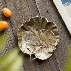 InsFashion delicada hoja de fruta hecha a mano de latón y bandeja de joyería con arañazos para la decoración del hogar de estilo nórdico