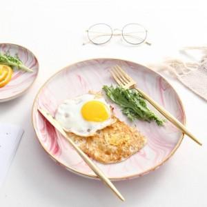 InsFashion fantástica bandeja de desayuno de cerámica de mármol rosa con borde dorado para un restaurante romántico de estilo bohemia