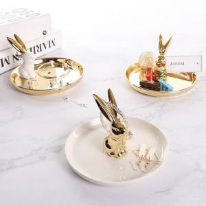El plato redondo de la joyería de cerámica del conejo redondo estupendo de InsFashion para la novia y el banquete de boda quita los conjuntos del regalo