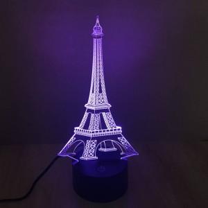 Colorida lámpara de mesa 3D de la Torre Eiffel creativa ilusión 3D luces nocturnas interruptor táctil 7 gradiente de color deco LED lámpara de escritorio como regalo