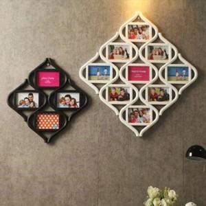 Continental 12 combinación de cuadrícula de marcos de fotos de 6 pulgadas que cuelgan foto en forma de pared pieza blanca Decoración del hogar Decoración de la boda