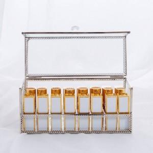 Caja de almacenamiento cosmética de lápiz labial Caja de escritorio dorada Almacenamiento Espejo a prueba de polvo Caja de almacenamiento cosmética transparente