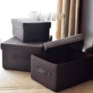 Caja de almacenamiento cubierta engrosamiento imitación cesto de hierba tejido cesto de ropa de escritorio