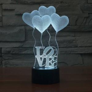 Lámpara de ilusión 3D creativa Colorida decoloración LED Luces nocturnas 3D Amor Corazón Acrílico boda dormitorio decoración Atmósfera Lámpara
