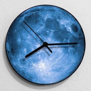 Reloj de pared creativo 3D Moon, sala de estar, dormitorio, reloj colgante de pared, luna azul gris, relojes mudos y elegantes