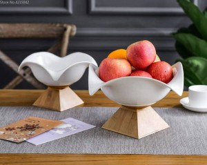 Cerámica creativa frutero grande frutero nórdico hogar moderno sala de estar aperitivos canasta de almacenamiento base de bambú placa de cerámica