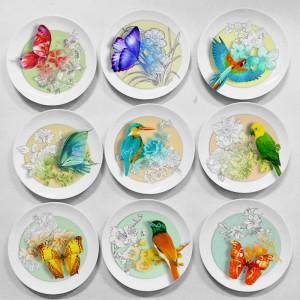 Diseño creativo Flores y pájaros Patrón animal Decoración Placa colgante Decoraciones rústicas para el hogar El nuevo diseñador del sudeste