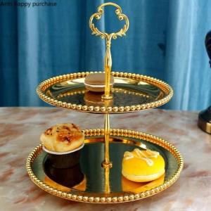 Estilo europeo creativo Capa doble Bandeja para frutas Sala de estar Cocina Soporte para pasteles Plato de fruta seca Té de la tarde Bandeja de refrigerios