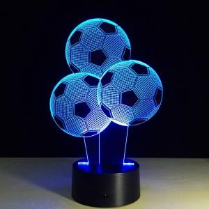 Luces de noche creativas de fútbol 7 colores que cambian la forma del globo Lámpara de ilusión LED 3D Luz visual 3D para fanáticos del fútbol Regalo