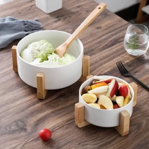Creativo tazón de ensalada de frutas Tazón de sopa de cerámica para el hogar Olla de sopa Bocaditos grandes tazón de fideos instantáneos Con marco de madera