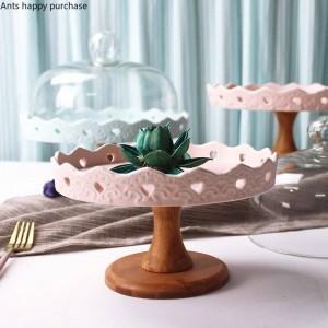 Bandeja de fruta creativa cerámica Tazón de fruta alta Bandeja de mesa de postre Soporte de exhibición Bandeja de pastel Estante de pastel cristmas decoración cupcake