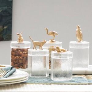 Frasco de vidrio creativo lindo metal animal botella tapa decoración Caja de almacenamiento Frasco de caramelo grano de café transparente botellas de tanque de almacenamiento