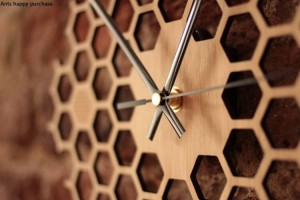 Hexágono creativo registro de nido de abeja reloj de pared rural natural colgante de pared reloj decoración para el hogar decoración de la pared reloj