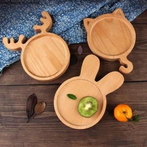 Creativa y encantadora bandeja de madera de estilo japonés Plato infantil Torta de postre Plato de ensalada de fruta para niños Plato de cerámica para vacaciones