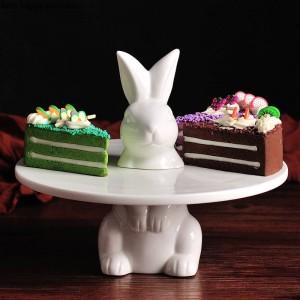 Conejo encantador creativo Bandeja de pastel Bandeja de fruta Soporte de pastel Plato decorativo boda Acción de gracias Decoración navideña