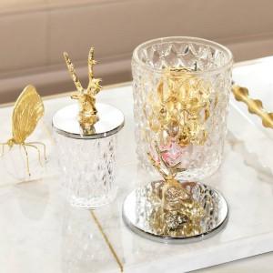 Caja de dulces de metal creativo frasco de vidrio cabeza de ciervo botella de almacenamiento Dulce jarra cristalería tanque de almacenamiento de cristal grande Puede decoración de regalo