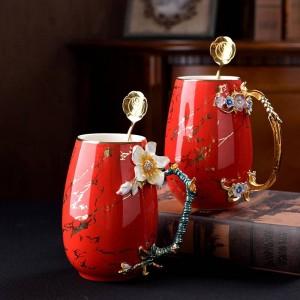Taza de café de esmalte multicolor de gran capacidad Taza de cerámica Aleación de leche Tazas de té de empuñadura caliente y fría Taza de agua