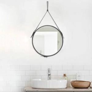 Creativo cinturón redondo espejo colgante baño PU cuero marco maquillaje espejo hotel decoración del hogar espejo de pared mx3081024