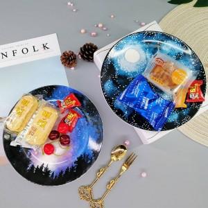 Placa creativa de la estrella de cerámica bandeja de almacenamiento de la torta pastel de postre plato organizador casero decoración plato de fruta