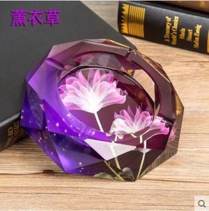 Cenicero de cristal, artesanía de cristal, material de oficina, artículos de decoración del hogar, regalos de empresa, diámetro de 0,15 metros.