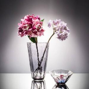 Tazón Cristal Cristal Floreros Borde Dorado