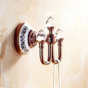 Crystal Robe Hook, gancho para ropa, acabado en latón cromado, accesorios de baño elegantes, ganchos para batas, accesorios de baño 6306