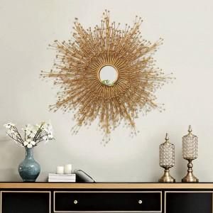Decoración de pared de sala de estar de metal personalizada Gafas de sol creativas Dormitorio Colgante Espejo de pared de hierro forjado Decoraciones de hotel de pared