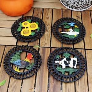 Salvamanteles decorativo de hierro fundido para cocina o mesa de comedor | Ronda con patrón de animales | Hot Pads para ollas y sartenes | Resistente al calor