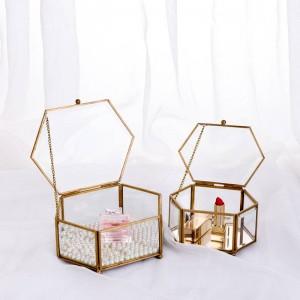 Caja de almacenamiento decorativa Hexagonal Glass Geometric Jewelry Box Mirror Jewelry Eternal Flower Decoration Box Crafts