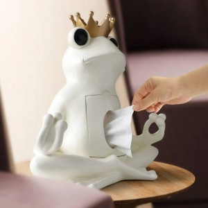 Decorativo Caja de Pañuelos Titular de la Decoración Del Hogar Caja de Almacenamiento de Resina En la Mesa Rana Estatua Ornamento Artesanía Escultura regalo