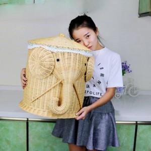 Ropa sucia canasta de almacenamiento ropa sucia canasta de juguete guantera de ratán Gran tela rústica canasta estante ropa cubo