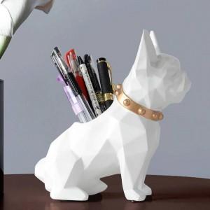 Estatuilla de resina para perros, organizador de escritorio, organizador de escritorio, accesorios de oficina, escritorio de almacenamiento, soporte de lápiz para escritorio, regalo artesanal