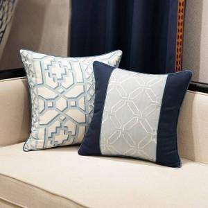 Elegante Funda de Cojín Nórdico Geometría Azul Lujo Jacquard Throw Almohada Decorativa Cubierta Del Coche Housse De Coussin Textiles Para El Hogar Regalo