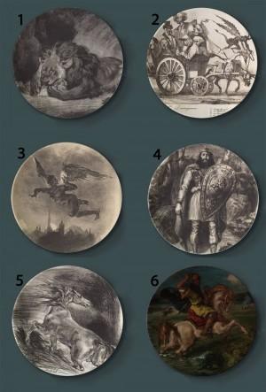Eugene Delacroix Pintura Placas decorativas Cerámica Hogar Plato artístico Hotel Fondo Pantalla Tormentoso Barco Pintura Placa