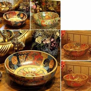 Europa Lavabo de cerámica de estilo vintage Lavabo sobre encimera Lavabo de baño Lavabo antiguo redondo