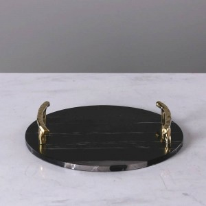Placa decorativa de lujo de la placa de la joyería de la manija del acero inoxidable de la bandeja redonda de mármol negra europea