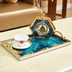 Patrón de piedra de ágata azul europea bandeja rectangular decoración sala de estar mesa de café cama de almacenamiento decoraciones