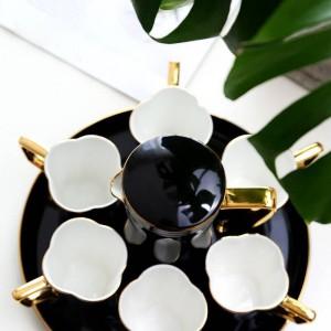Juego de tazas de café con hueso europeo Juego de tazas de té Negro / blanco Taza de agua Tetera Tarde Taza de té fiesta tazas de café set Regalo de boda