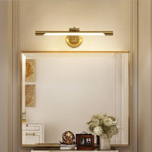 Lámpara de espejo de cobre europea para baño Lámparas de gabinete LED Maquillaje de moda Hanglamp Home Deco WC Aplique de pared Apliques de luz