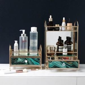 Vidrio creativo europeo Cosméticos multicapa Caja de almacenamiento Perfume de escritorio Cuidado de la piel Lápiz labial Estante de acabado