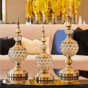 Cristal europeo cristal Candy jarra sala de estar adornos decoración pequeña Azucarero de metal con tapa plato de fruta seca regalo puede puede