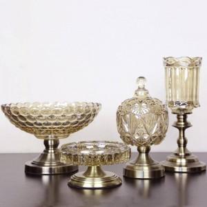 Plato de fruta europeo Cristal Frutero Tazón Tres piezas Adornos decorativos de lujo para el hogar moderno