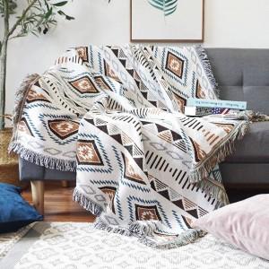 Funda decorativa de sofá de geometría de energía europea Funda para colchoneta Cobertor en mantas de costura antideslizante de tela escocesa de viaje de sofá / avión