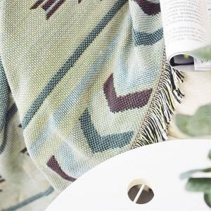 Geometría europea Manta de tiro Café Sofá Funda decorativa Cobertor en sofá Viaje Mantas de costura antideslizantes Navidad