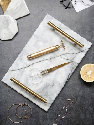Manija de oro europea Bandeja de mármol Bandeja de almacenamiento Tabla de almacenamiento Plato de postre Plato de sushi Natural