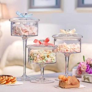 Frasco de caramelo de vidrio de alta calidad europeo cubierta transparente Botella de almacenamiento Torta de vidrio a prueba de polvo plato de postre Decoración de la boda