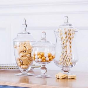 Alta calidad europea frasco de caramelo artificial botella de vidrio soplado hotel boda postre mesa decoración snack galleta tanque de almacenamiento