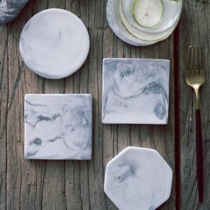Patrón de mármol europeo Posavasos de cerámica Taza de café Alfombrilla de té Comedor Mesa dura Manteles individuales Decoración de la mesa Accesorios