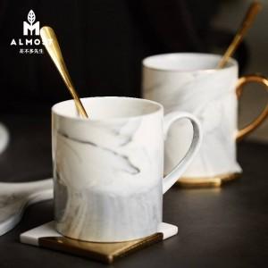 Taza de textura de mármol europeo dibujo borde de oro taza de cerámica oficina en casa taza de café taza de pareja
