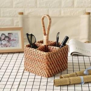 Pastoral europea de escritorio de control remoto de almacenamiento cesta de la sala de estar dormitorio cosméticos decorativa cesta
